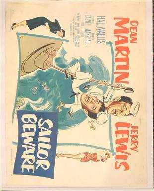 Sailor Beware original 1952 vintage linen backed