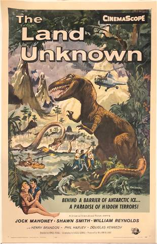 The Land Unknown original 1957 vintage linen backed one