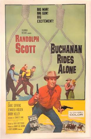 Buchanan Rides Alone original 1958 vintage linen backed