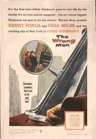 The Wrong Man original 1957 vintage linen backed one