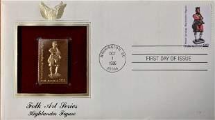 Folk Art Series Highlander Figure Gold Stamp Replica