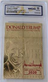 Donald Trump 2020 Keep America Great 23 karat gold card