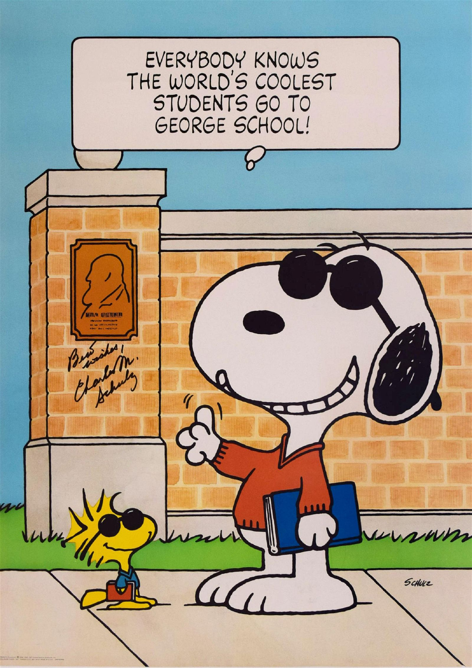 Snoopy Charles Schulz original signed poster