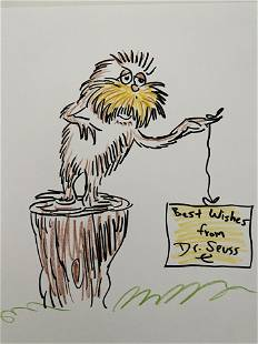 Dr Seuss The Lorax signed sketch