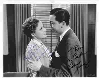 Laraine Day and Robert Young signed movie photo