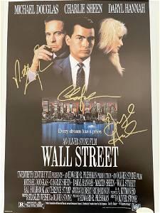 Wall Street cast signed mini poster