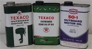 3 Texaco Outboard Marine Quart Oil Cans