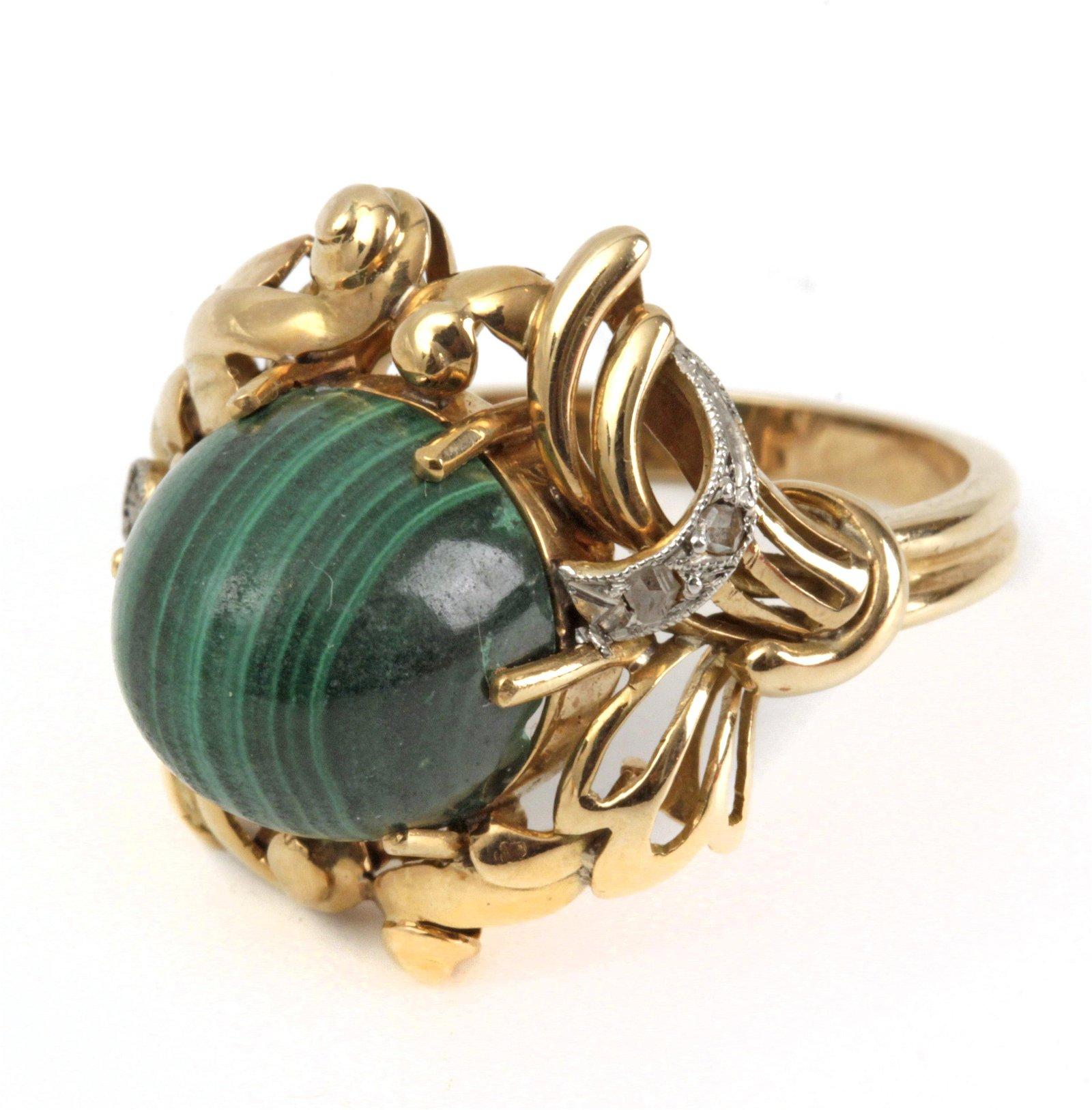 A ring circa 1950. Gold, rose cut diamonds and a