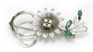 A diamond and chrysoprase flowery brooch circa