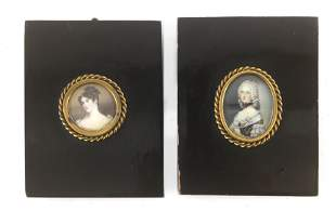 A pair of French miniature portraits of dames circa