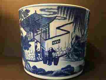 Early Large Chinese Blue and White Cachepot with