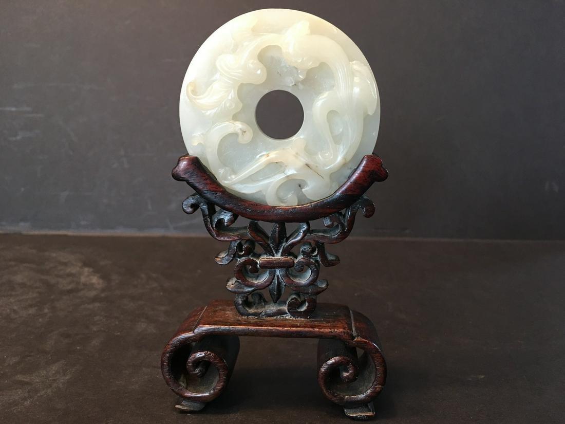 ANTIQUE Chinese White Jade Round Dragonand RUYI Screen