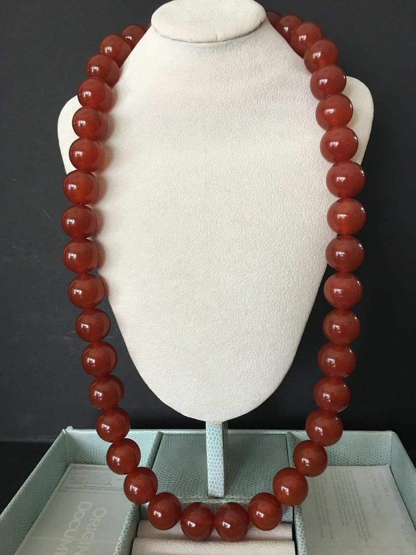"""OLD Chinese Large Beads Dark Red Agate Neckalce, 30"""""""