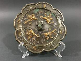 OLD Chinese Bronze Mirror with decorations, Jin Period