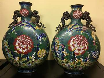 Antique Chinese Large Chinese Cloisonne Moon Flasks,
