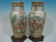 Important OLD Large Chinese Mandarin Palette Vases with