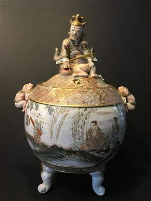 Important Large Japanese Satsuma Censer with Figurines