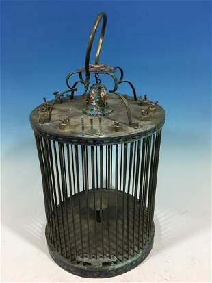 OLD Large Chinese Enameled Brass Bird Cage with Zoodiac