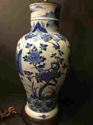 ANTIQUE Chinese Large Blue and White Vase Lamp, early Q