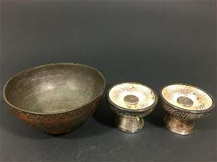Old Persian Bronze Bowl and a pair of Hammered Silver