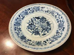 Antique Large Chinese Blue and White Charger Plate,