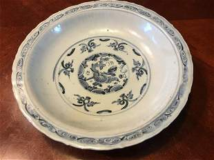 Antique Chinese Blue and White Charger Plate, Yuan/Ming