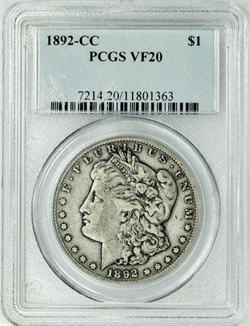 1892-CC Morgan Dollar PCGS VF-20