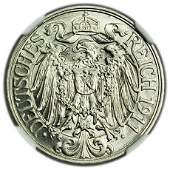 GERMANY, Empire KM#18 1911A 25 Pfennig NGC MS-63