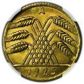GERMANY, Weimar Republic KM#40 1925A Ten Pfennig NGC