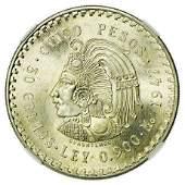 MEXICO 1947Mo Silver Five Pesos NGC MS-65+