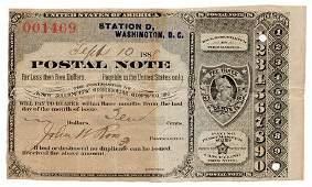 1888 United States Postal Note Type IV Washington DC
