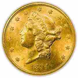 1894-S $20 Liberty Head Gold Double Eagle NGC MS-61