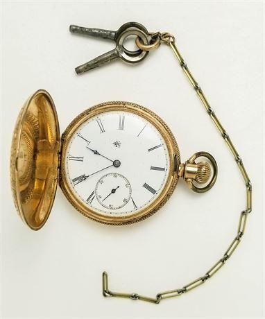 1882 Lady Elgin Model 3 Pocket Watch 14K Solid Gold