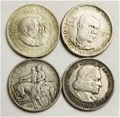 Group of 4 Commemorative Silver Half Dollars