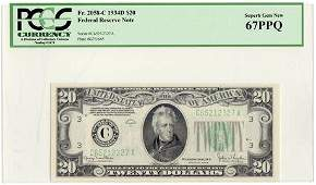 Fr.2058-C 1934D $20 Federal Reserve Note PCGS MS-67 PPQ