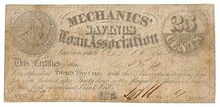 Mechanics Savings Bank 1861 25 Cent GA Obsolete Note
