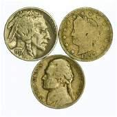 Group of 3 Nickels 1897 - 1958