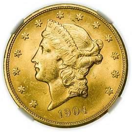 1904 $20 Liberty Head Gold Double Eagle NGC MS-63