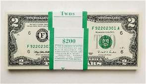 Bundle of $2 Federal Reserve Notes Totaling $200