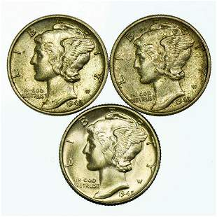 Group of 3 Mercury Dimes 1942, 1943, 1945