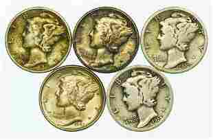 Group of 5 Mercury Dimes 1923, 1926, 1935, 1940, 1943