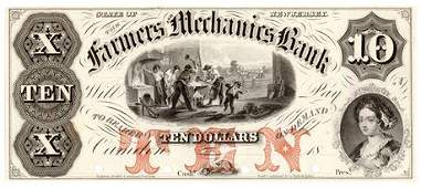 18_ $10 Farm and Merchant Bank Note New Jersey