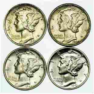Group of 4 Mercury Dimes 1941, 1943, 1944, 1945