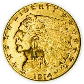 1914 $2.50 Gold Indian Quarter Eagle Coin