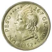 DOMINICAN REPUBLIC. KM#22 1952 Peso NGC MS-65