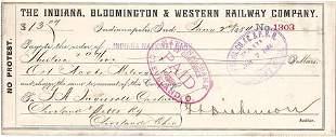 1884 Railroad Company Check Indianapolis