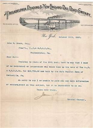 1895 Letter to Philadelphia Reading & New England
