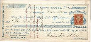 1866 Secretary of State Officer Check Signed by Civil