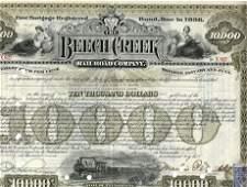 1908 Beechcreek Railroad Stock Certificate Signed