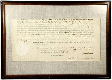 1815 Framed Appointment of Ambassador to France James
